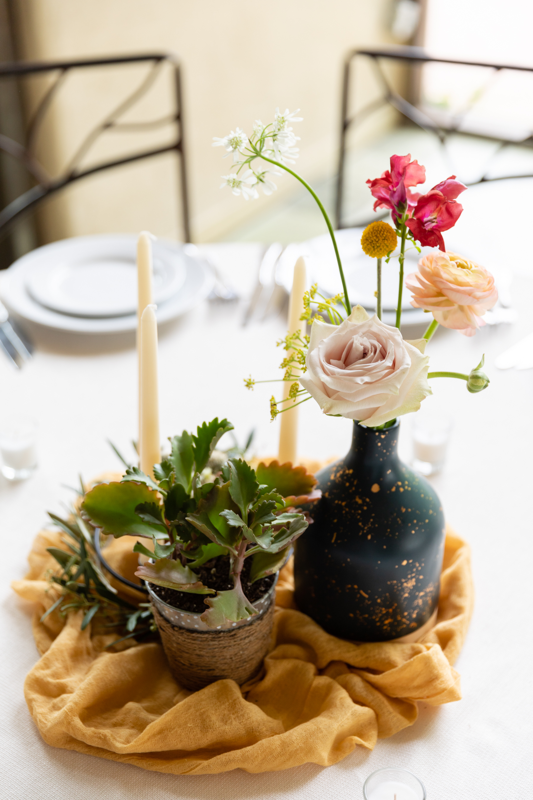 beautiful spring wedding centerpieces by Austin TX florist Wildly Cultivated