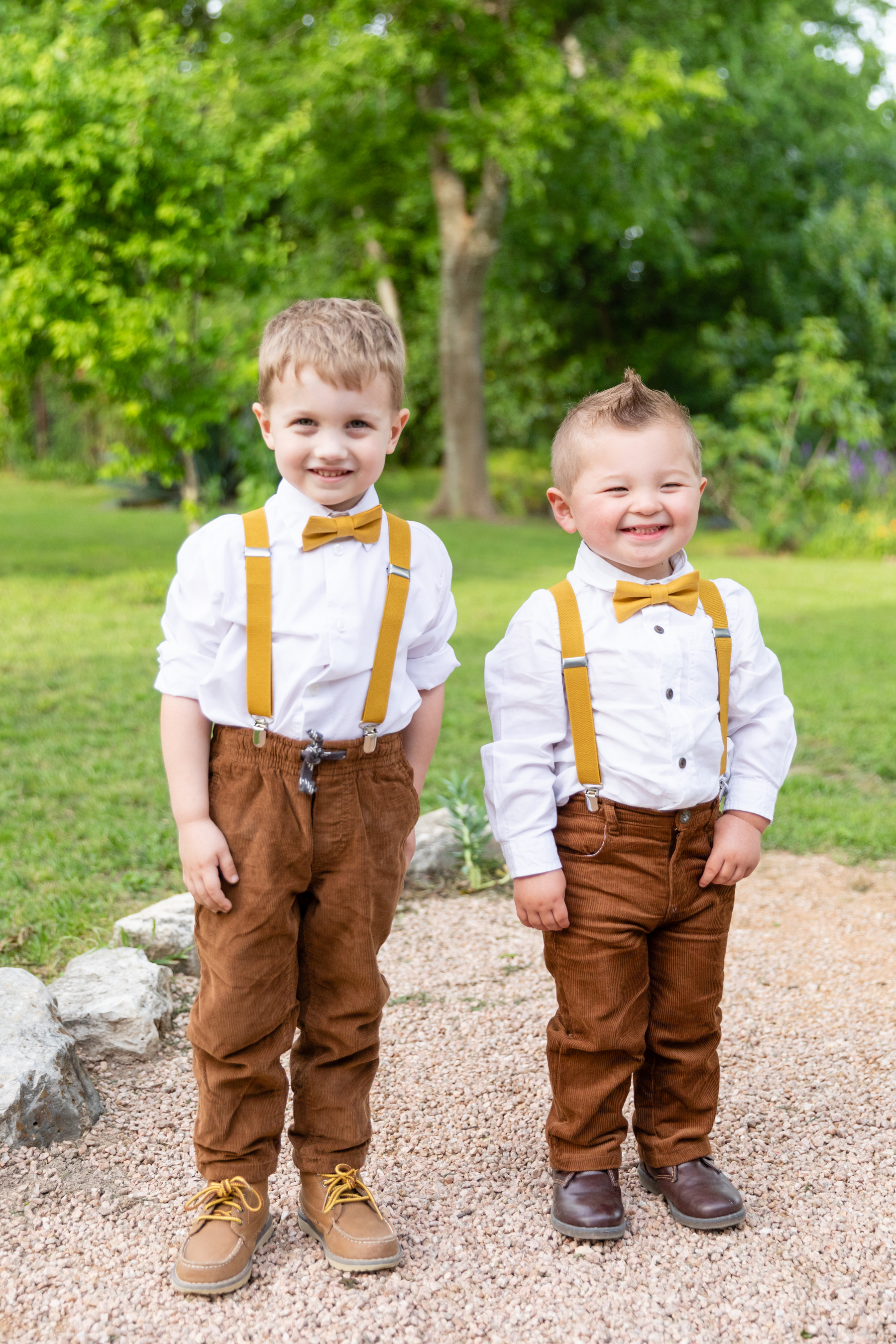 the cutest little ring bearers helped start the processional at this wedding in Austin
