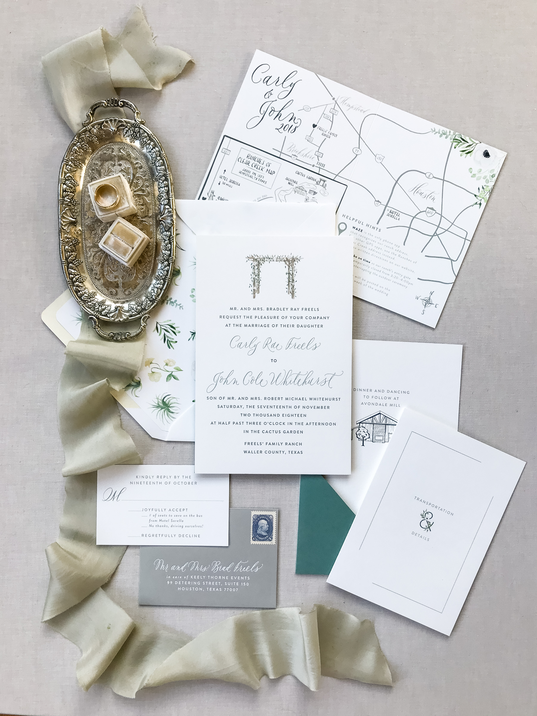 beautiful invitation suite for a Texas ranch wedding