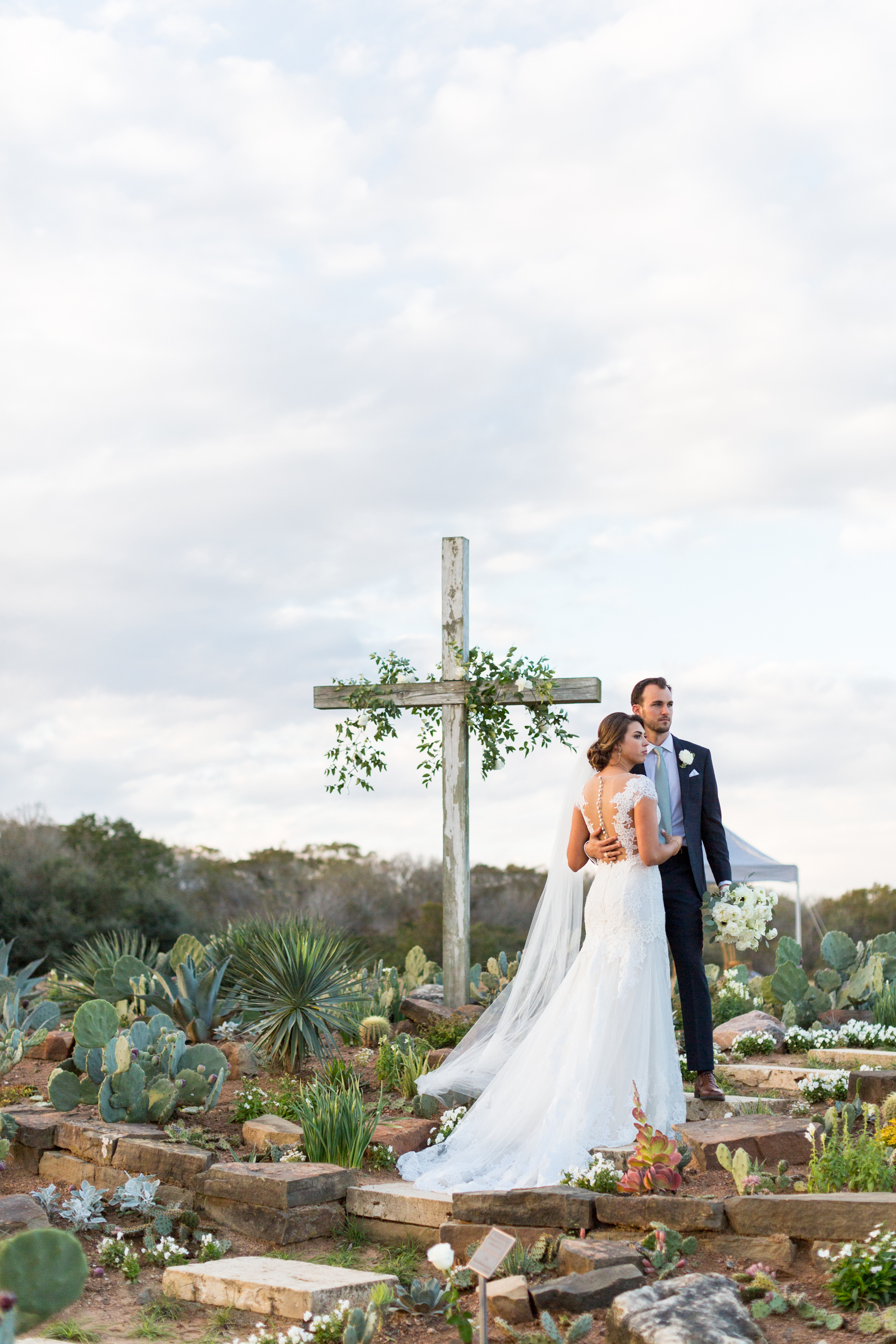 Bride and Groom at their cactus garden ceremony site