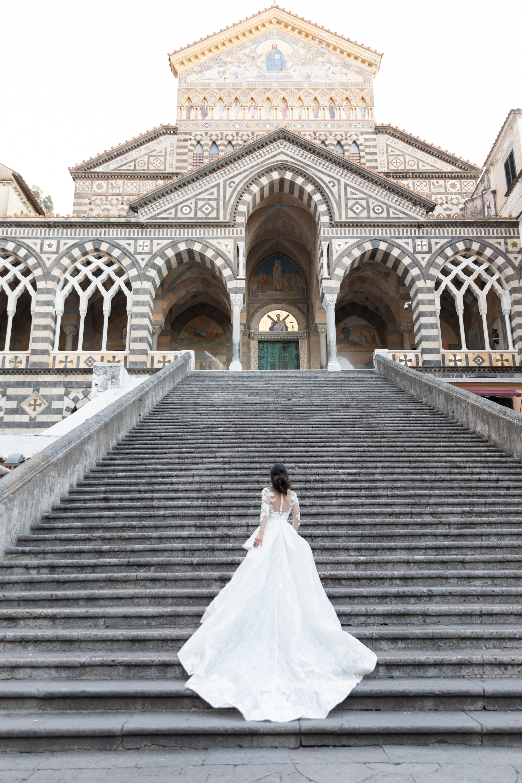 destination wedding bride at Amalfi Cathedral