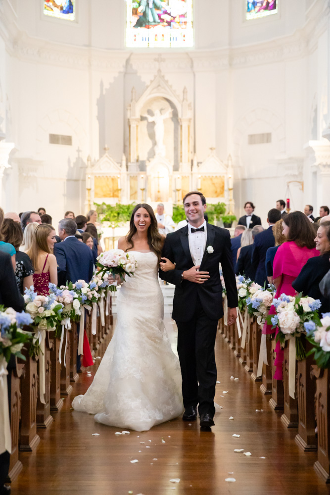 Bride and Groom just married at Galveston Island's Sacred Heart Church