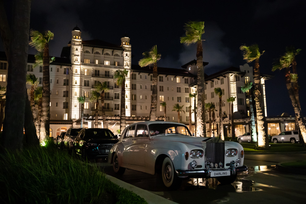 Limousine waiting for the bride and groom at Hotel Galvez Wedding