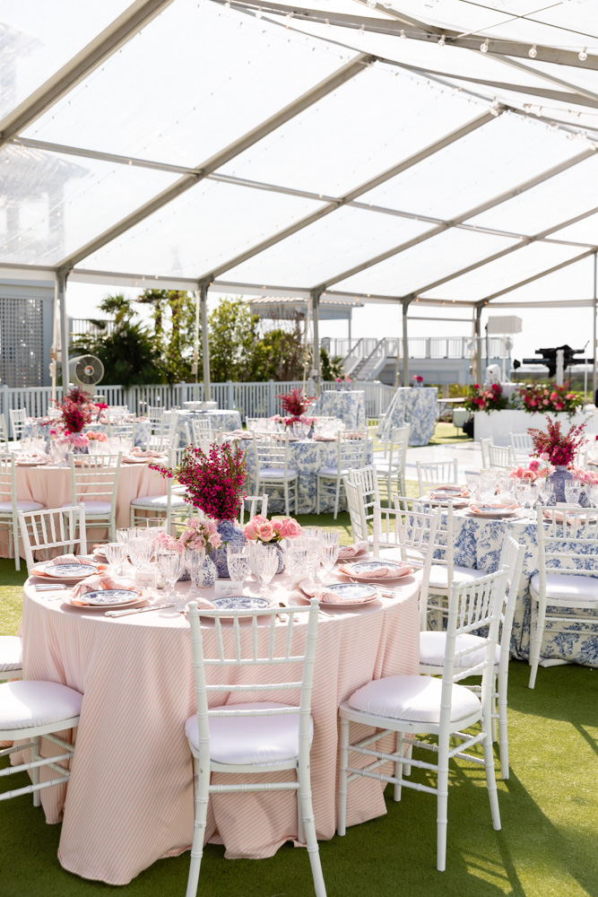 outdoor tented reception tables